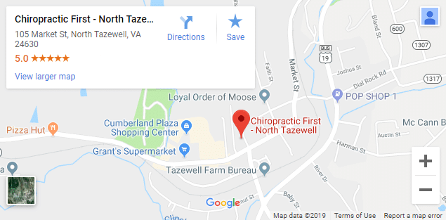 Map of North Tazewell VA Chiropractors